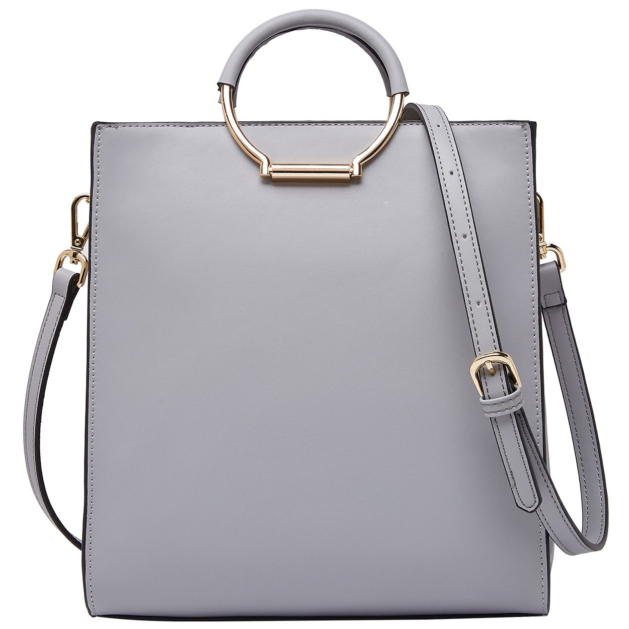 BOYATU Leather Handbags Purse High Capacity Tote Shoulder Crossbodybag for Women(Grey)