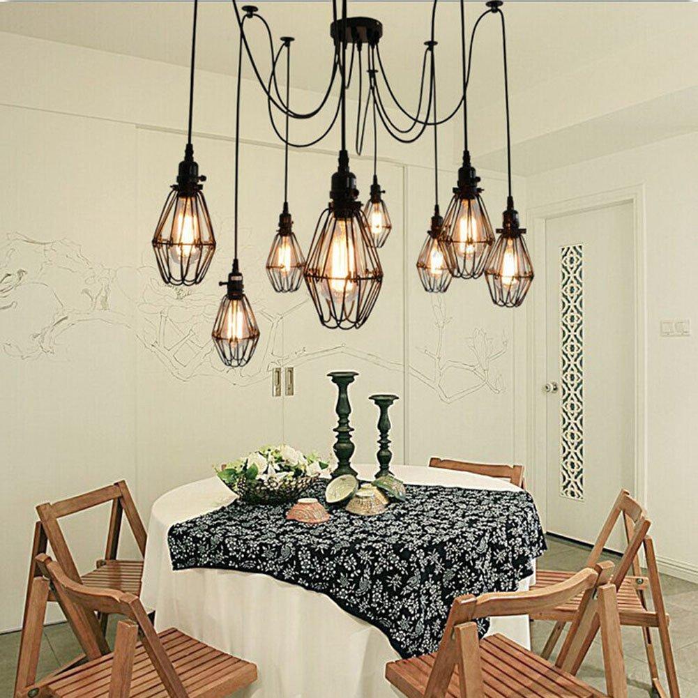 Sanyi Vintage Ceiling Lamp Hanging Lighting Edison Multiple Adjustable DIY Spider Light Metal Wire Cage Pendant Chandelier Modern Chic