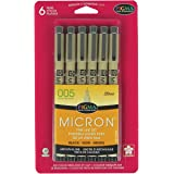 Sakura 50034 6-Piece Pigma Micron-005 Ink Pen Set, 0.20mm, Black