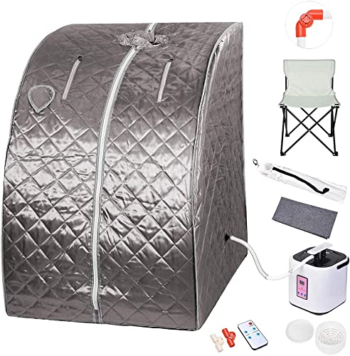 ZeHuoGe Portable Personal Therapeutic Steam Sauna Kit SPA Slim Detox Weight Loss Home Indoor 2L Steamer Digital Display Remote 220LBS Capacity of Chair US Delivery Grey