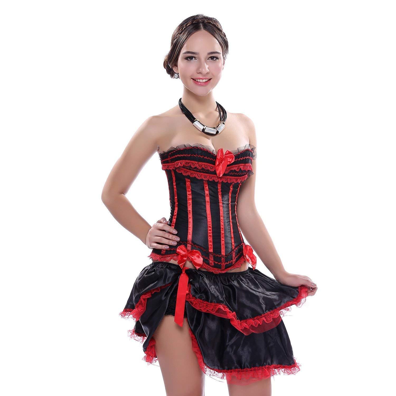 Lannister Mujer Red Satin Stripe Moda Correas Corset Falda Mini ...