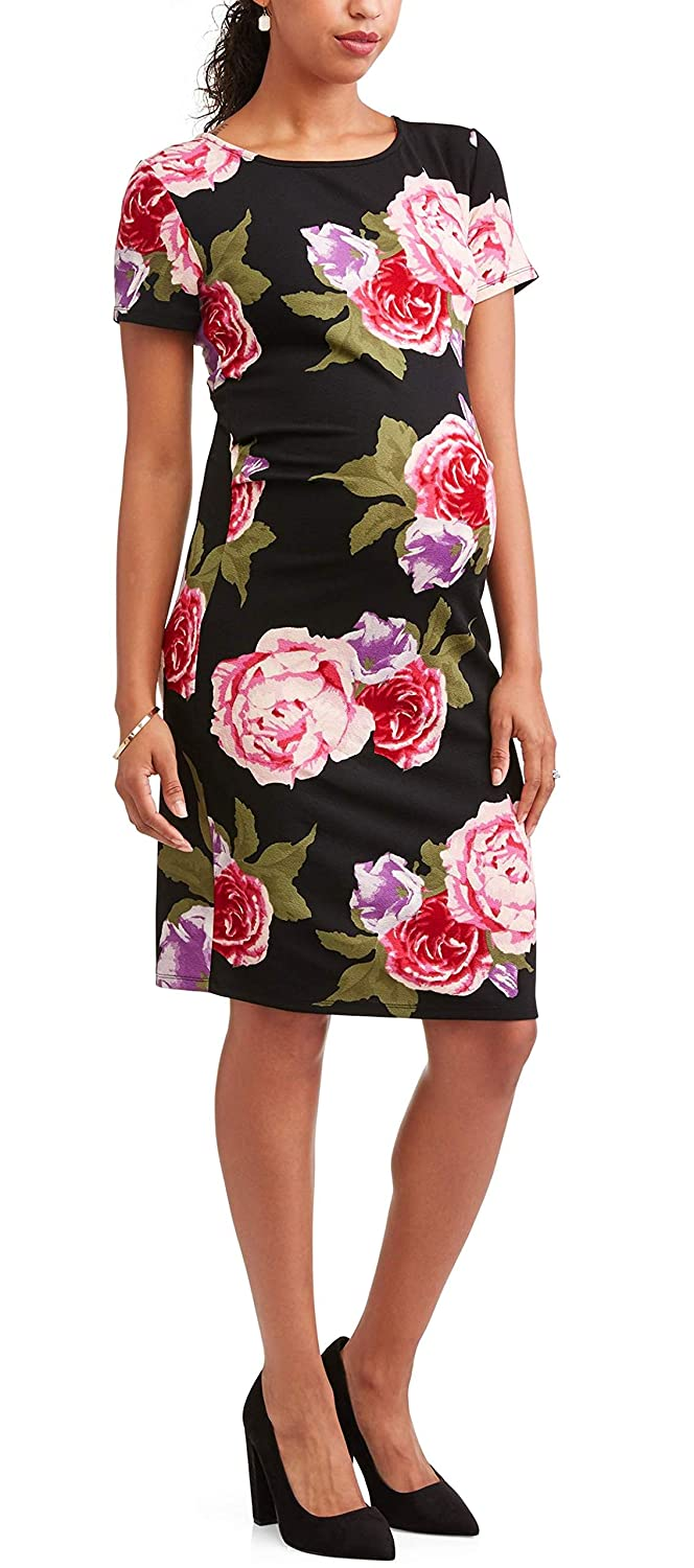 5b94c898dda4e Liz Lange Maternity Short Sleeve Floral Bodycon Dress at Amazon Women's  Clothing store: