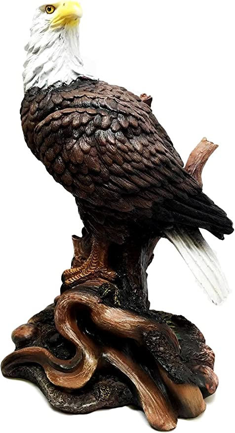 "Large American Bald Eagle on Branch Figurine Statue Decor 17/""H 4th of July Gift"