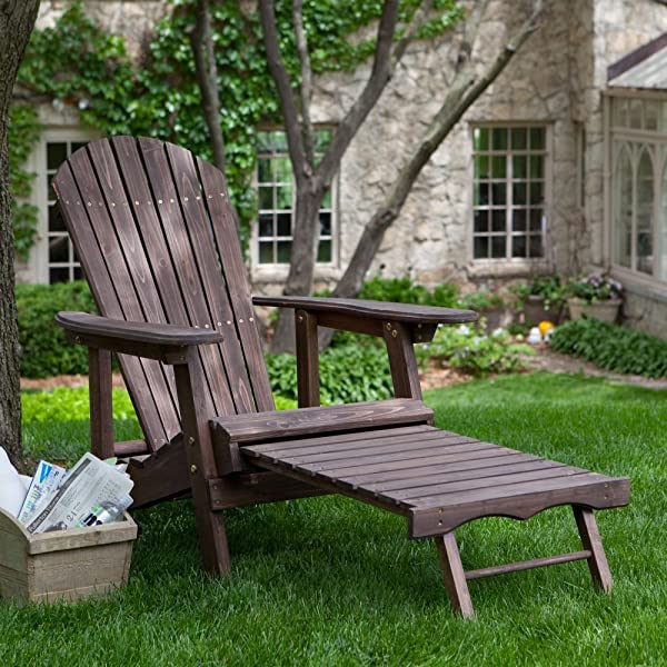 Coral Coast Big Daddy Coral Coast Reclining Adirondack Chair with Pull Out Ottoman- Dark, Brown, Wood, 31W x 62D x 32H inches