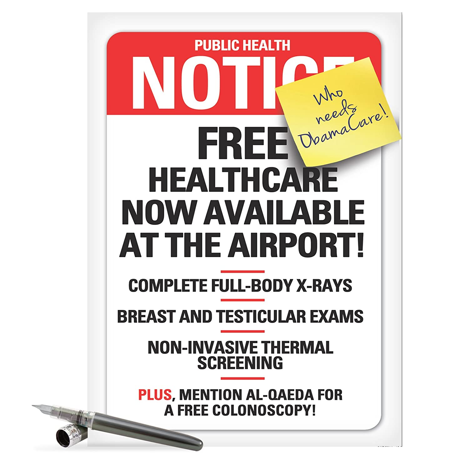 Amazon J8944 Jumbo Funny Get Well Card Obamacare Fb With