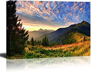 wall26 - Canvas Wall Art - Mountain Sunset Landscape - Modern Home Art Stretched and Framed Ready to Hang - 24x36 inches