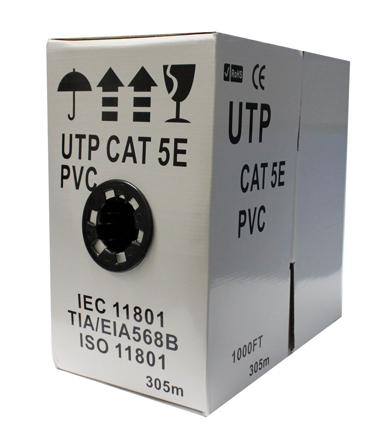 HDVD™ Cat5e Ethernet Cable / Wire UTP Pull Box, 1000ft Cat-5e White, 24AWG, 350MHZ, UTP Solid PVC