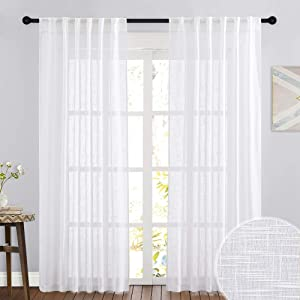 RYB HOME Sheer Curtains White - Linen Texture Wave Fabric Vertical Window Shades for Sliding Glass Door Balcony Terrace Sun Room Beach Pool House, 52 x 90 inches, 1 Pair