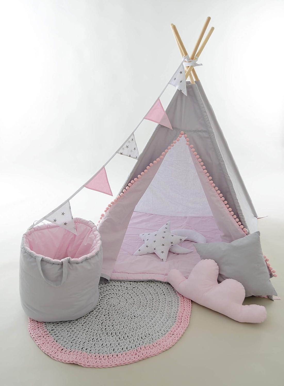 Evama Tipi - Spielzelt , Kinderzelt, Wigwam, Kindertipi Zelt für Drinnen und Draußen Set 7 TLG. SONDERWÜNSCHE WILLKOMMEN