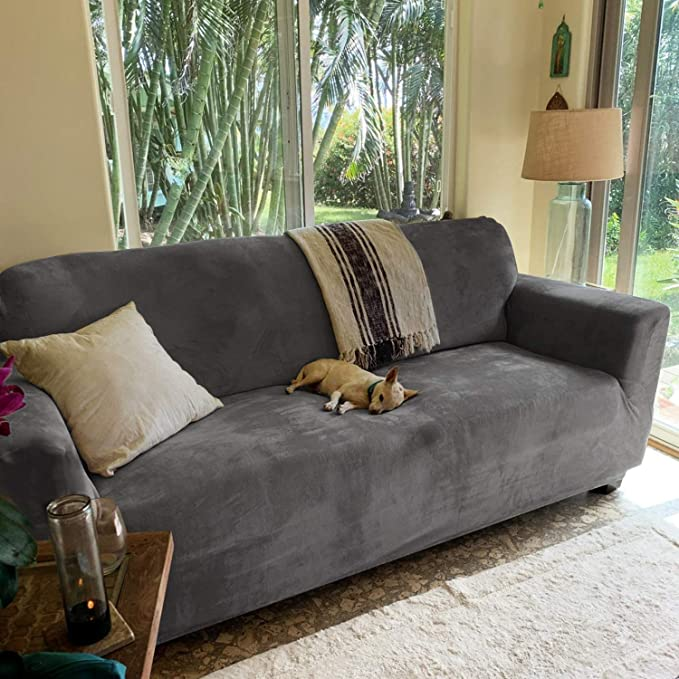 1-Piece Sofa Protector Loveseat: Dark Gray Loveseat Cover/&Couch Cover for Dogs RHF Jacquard-Stretch Loveseat Slipcover Slipcovers for Couches and Loveseats