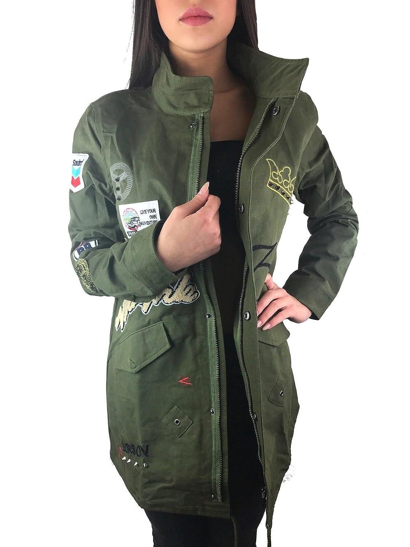 Damen Jacke Camouflage Parka Militär Übergangsjacke Patches