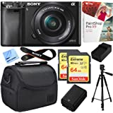 Sony Alpha a6000 24.3MP Mirrorless Camera w/ 16-50mm Bundle Deal Includes Alpha a6000, 16-50mm Zoom Lens, Paint Shop Pro X9, Bag, 64GB SDXC Card x 2, Battery, Charger, Tripod and Beach Camera Cloth