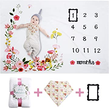 Large Personalized Photography Background Blankets Newborn Blanket Babies Shower Gifts Premium Fleece Baby Monthly Milestone Blanket for Boy Girl