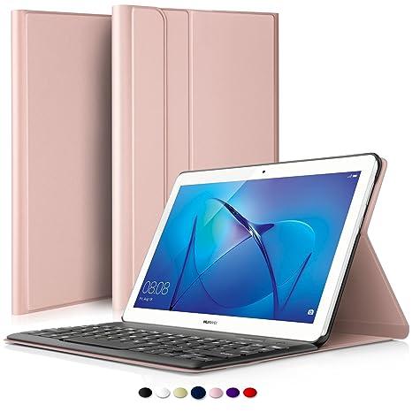 design innovativo 1f99c 392a0 ELTD Huawei MediaPad T3 10 Tastiera Custodia Portfolio [QWERTY Layout],  Slim Smart Pelle PU Custodia con Rimovibile Wireless Keyboard Tastiera per  ...