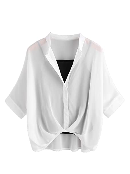 Milumia Women s Batwing Sleeve V Neck High Low Chiffon Sheer Blouse Top  with Cami Top White 922781444