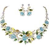 EVER FAITH Crystal Enamel Hummingbird Hibiscus Flower Leaf Necklace Earrings Set Gold-Tone