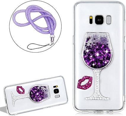 Coque pour Samsung Galaxy S8 Anti choc, Girlyard Femme Fille Etui Brillante Bling Liquide Etoile Paillette Strass Eau Water Swag Sables Mouvants 3D