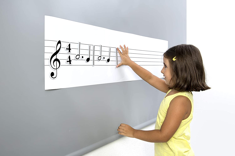 pizarra magnetica con pentagrama y notas musicales