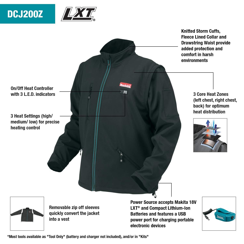 Makita DCJ200ZM 18V LXT Lithium-Ion Cordless Heated Jacket, Black, Medium