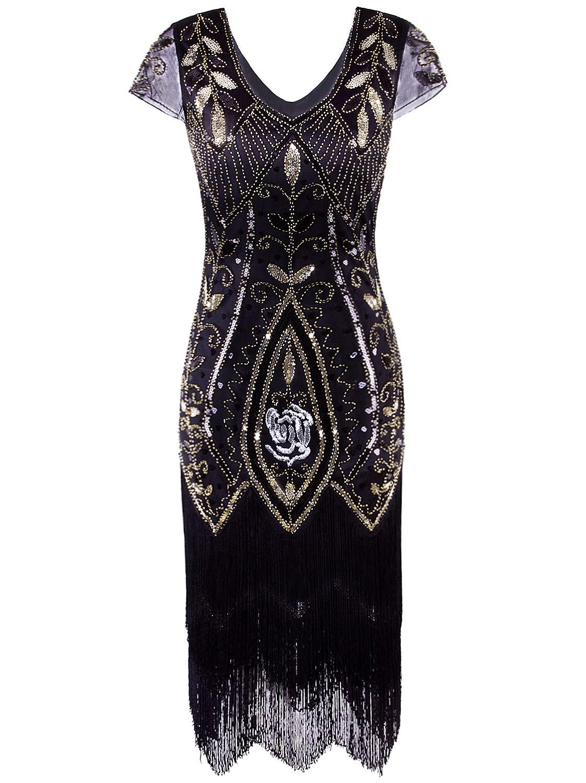 Vijiv Women\'s Short Flapper Dress 1920s Gatsby Vintage Plus Size V Neck  Beaded Art Deco Tassel Roaring 20\'s Dresses with Sleeves