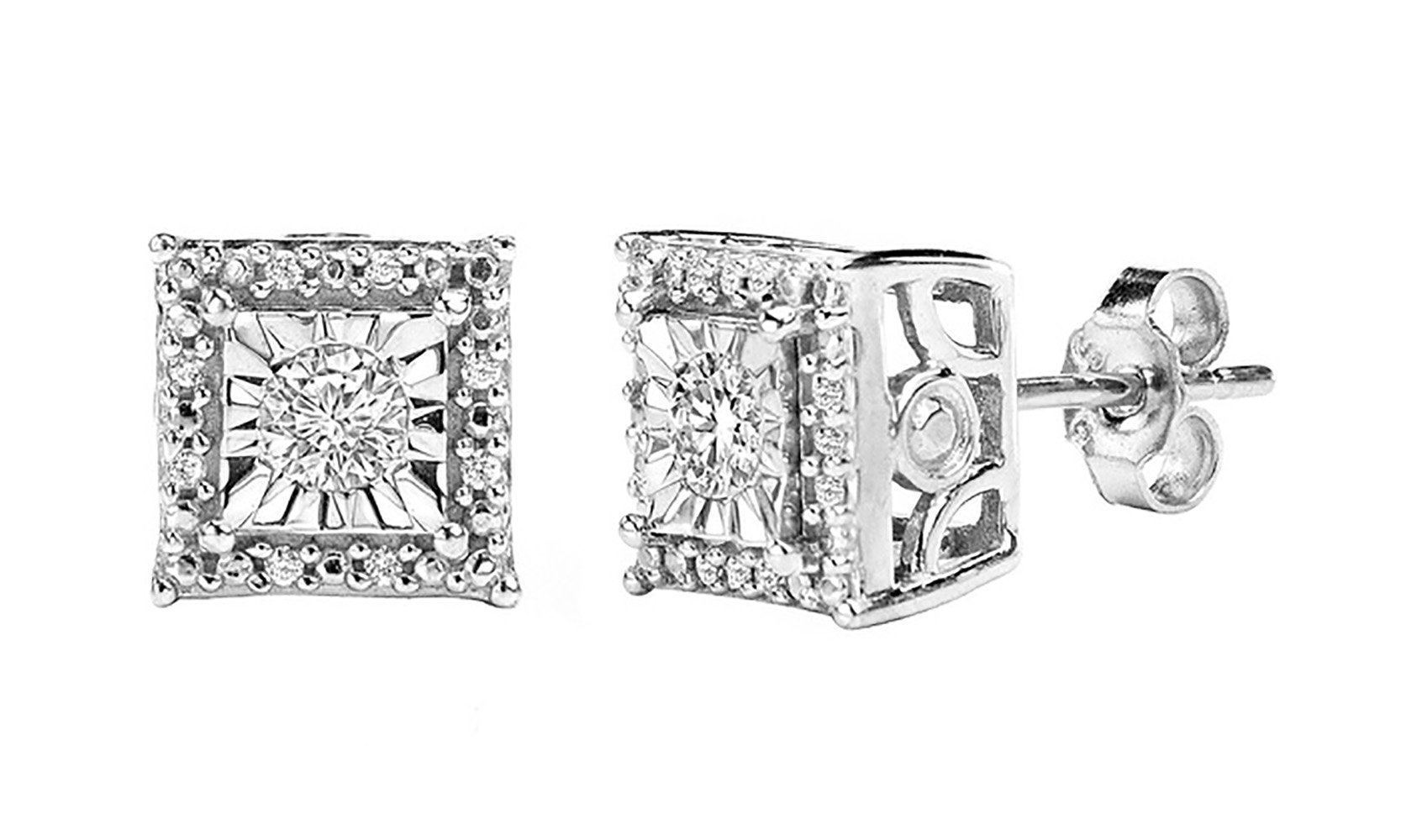 Sterling Silver Round Cut Diamond Stud Earrings (1/4 cttw, I-J Color, I2-I3 Clarity)