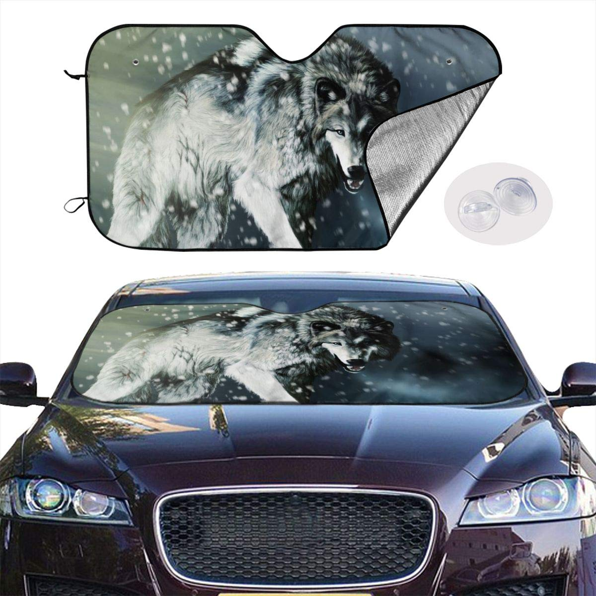 Cartoon Anime Wolf Car Windshield Sun Shade - Blocks UV Rays Sun Visor Protector, Sunshade to Keep Your Vehicle Cool and Damage Free,Easy to Use, Universal Size (S 51.2x27.5 Inches) by HE - Fashion