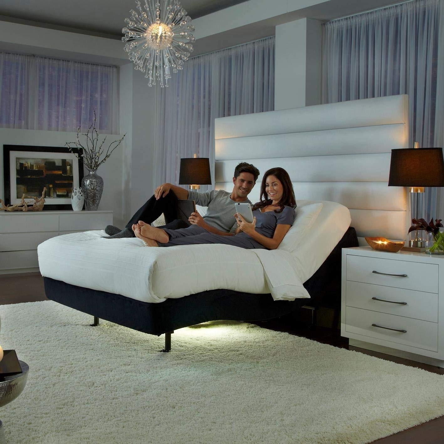 Prodigy Comfort Elite Adjustable Bed Base by Leggett & Platt with 14.5'' CoolBreeze Plush Gel Memory Foam Mattress by Dynasty Mattress (Split King w/Setup) by Leggett & Platt