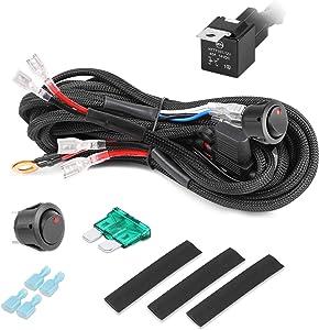 Wiring Harness, OFFROADTOWN 2 Lead LED Light Bar Wiring Harness Kit Heavy Duty wire kit for LED Pods Work Light 12V 40A On/Off Rocker Switch Blade Fuse Power Relay for Truck UTV AVT Boat