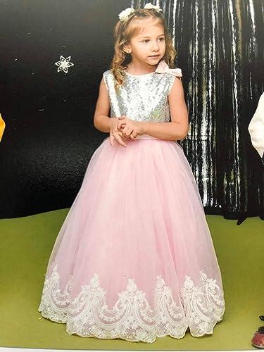 94b237e6257 Amazon.com  Princess sequin lace tutu dress Flower girl sequin dress with  bow