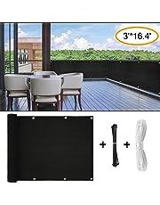 Balcony Privacy Screen, Fence Mesh for Patio Balcony Windscreen Sun Shade UV-Proof, 3ft x16.4ft Outdoor Backyard Weather-Resistant Balcony Net