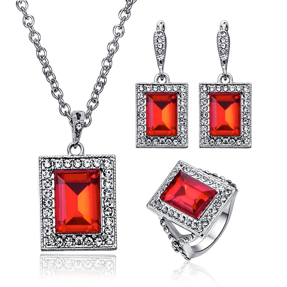 Bridal Wedding Red Crystal Jewelry Set Ruby Gemstone Square Necklace Drop Earring Ring Sets Elegant - Red + Ring#7