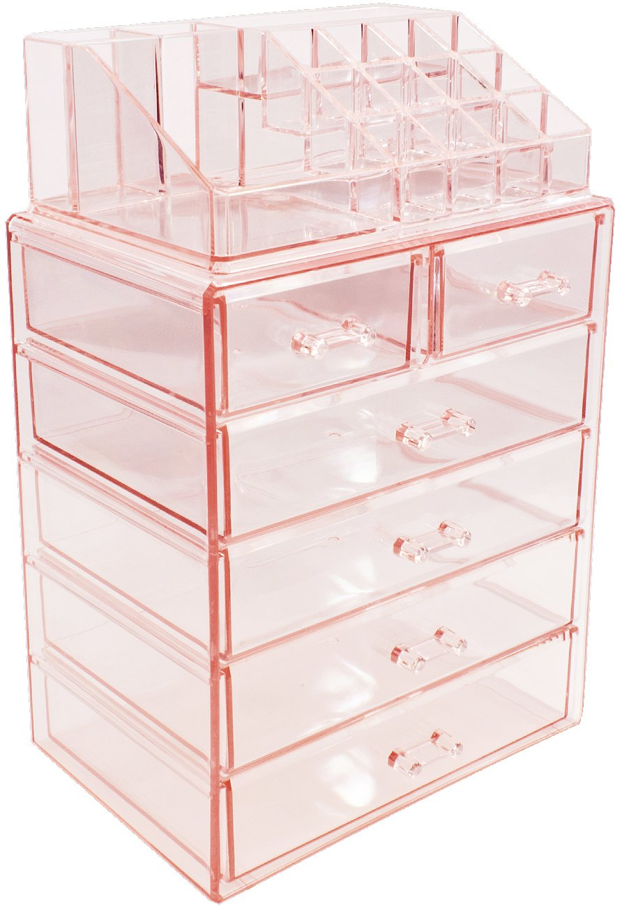 Sorbus Cosmetic Makeup and Jewelry Storage Case Display - Spacious Design - Great for Bathroo, Dresser, Vanity and Countertop (4 Large, 2 Small Drawers, Pink)