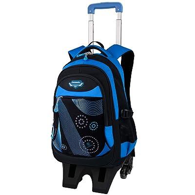 Boy Rolling Backpack, Fanspack Wheeled Backpack for Boys School Bag with 6 Wheels Large Capacity Boy Roller Backpack Bookbag   Kids' Backpacks