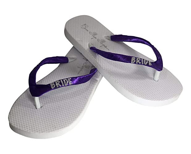 60b37394fc2e Image Unavailable. Image not available for. Color  Silver   Purple Bride  Flip Flops ...