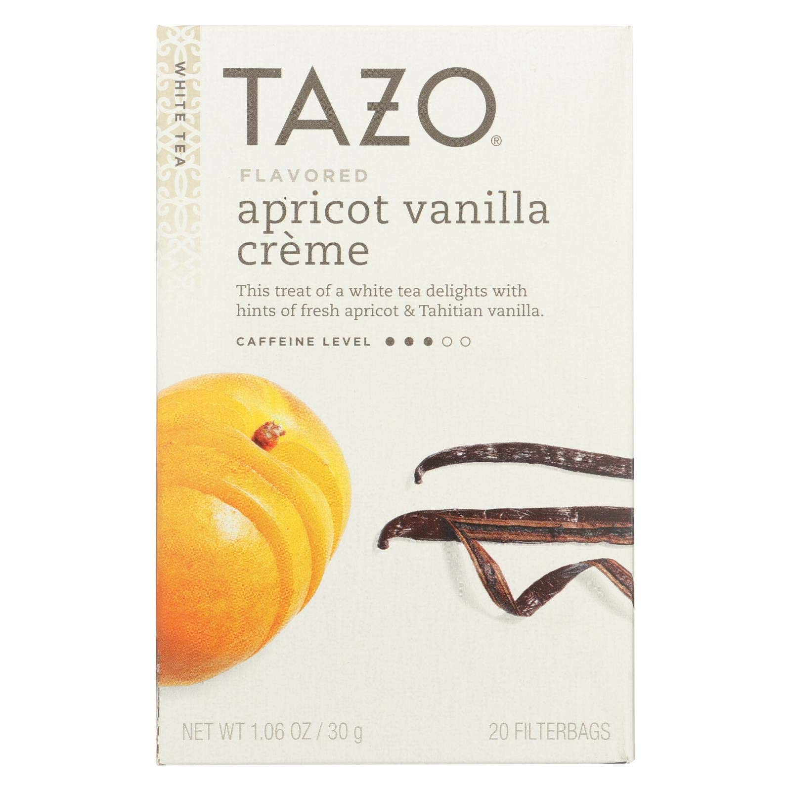 Tazo Vanilla Apricot White Tea, 20-Count Tea Bags (Pack of 6) by Tazo
