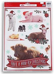 ''Have a Moo-ry Christmas'' Farm Animals Window Clings - 17 Piece