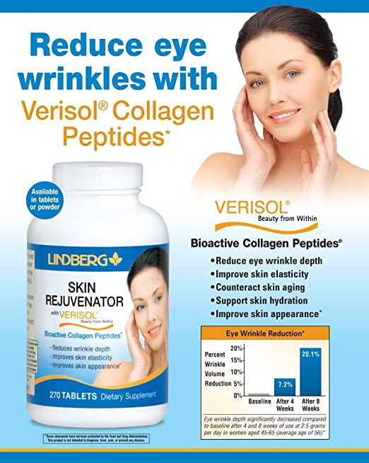 Amazon.com: Lindberg Skin Rejuvenator with Verisol, 270 Tablets, Bioactive Collagen Peptides: Health & Personal Care