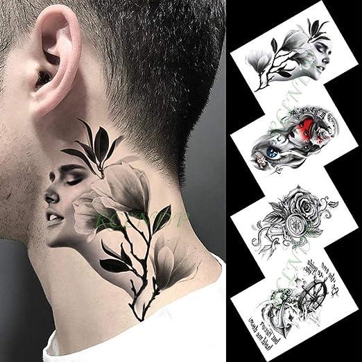 Etiqueta engomada del Tatuaje Temporal Impermeable Chica Flor ...