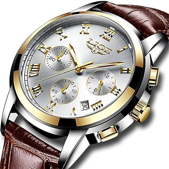 Relojes para hombre de cuero resistente al agua analógico reloj de cuarzo  hombres Fecha deporte reloj de pulsera hombre correa marrón vestido de  negocios ... 0126740683f2