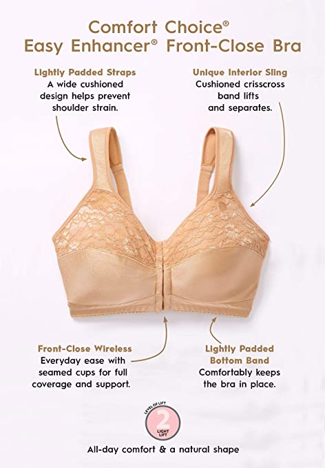 efe409c76c3be Comfort Choice Women s Plus Size Easy Enhancer Everyday Front-Close Bra at  Amazon Women s Clothing store
