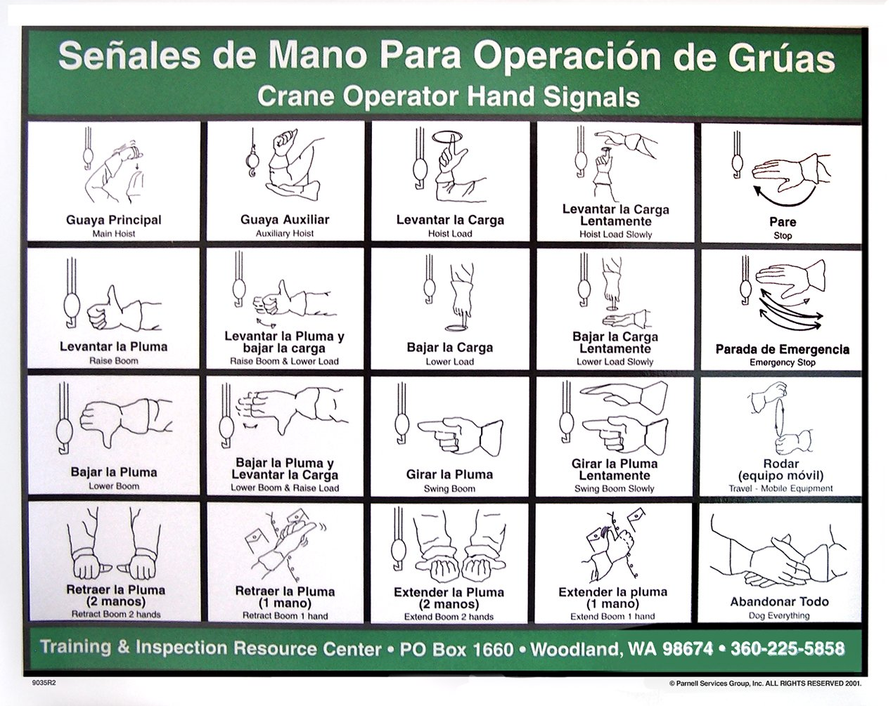 crane hand signals chart spanish amazon com crane. Black Bedroom Furniture Sets. Home Design Ideas