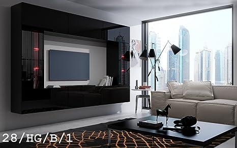 HomeDirectLTD Future 28, Conjunto de Muebles De Salón, Módulo Bajo para TV Y Multimedia, Unidad de Entretenimiento, Mueble TV, Suite a Estrenar ...