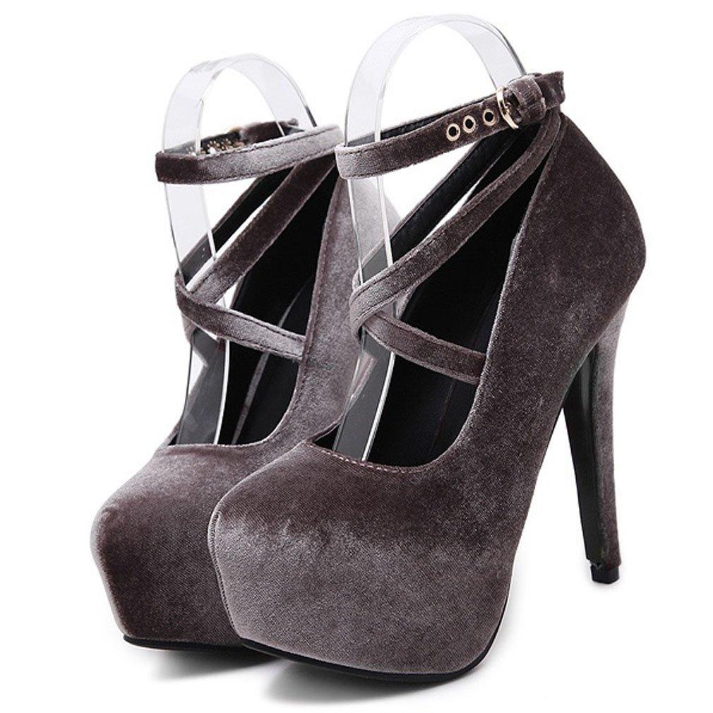 Xianshu Mujers Terciopelo Plataforma Zapatos Tacón Alto Correa de Tobillo Hebilla Pumps