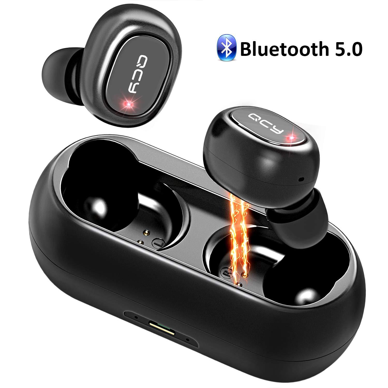 QCY Auriculares Bluetooth, Doble Auriculares Inalámbricos Estéreo In-Ear Bluetooth 5.0 con Micrófono, 16H Tiempo de Reproducción Prueba de Sudor Mini Cascos ...