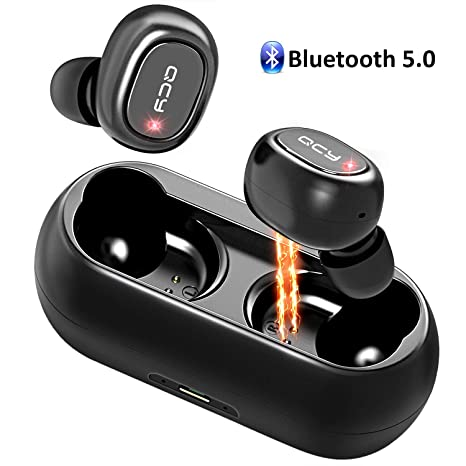 QCY Auriculares Bluetooth, Doble Auriculares Inalámbricos Estéreo In-Ear Bluetooth 5.0 con Micrófono,