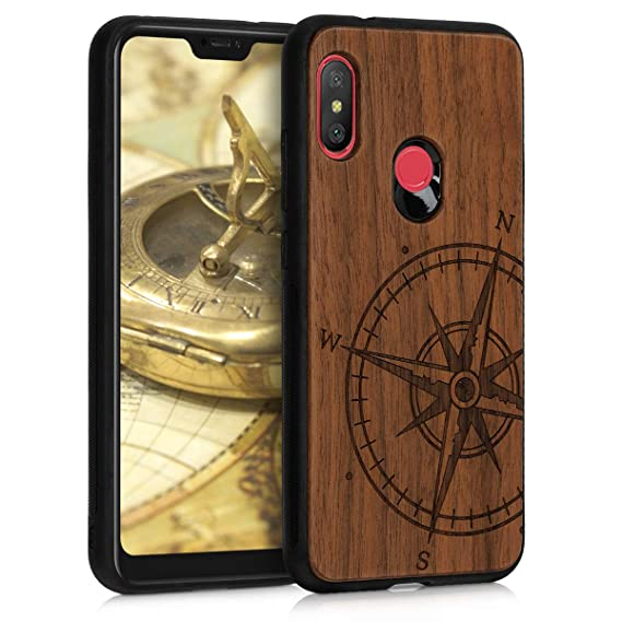 kwmobile Wooden Protection case for Xiaomi Redmi 6 Pro/Mi A2 Lite - Hard case with TPU Bumper Navigational Compass Walnut