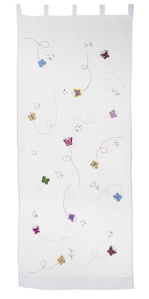 bambiente Baby Kinderzimmer Vorhänge Gardinen \'Butterfly\' 105x250cm mit  Schlaufen Baumwolle weiß transparent 2 Schals Wohnzimmer Eßzimmer  Gästezimmer