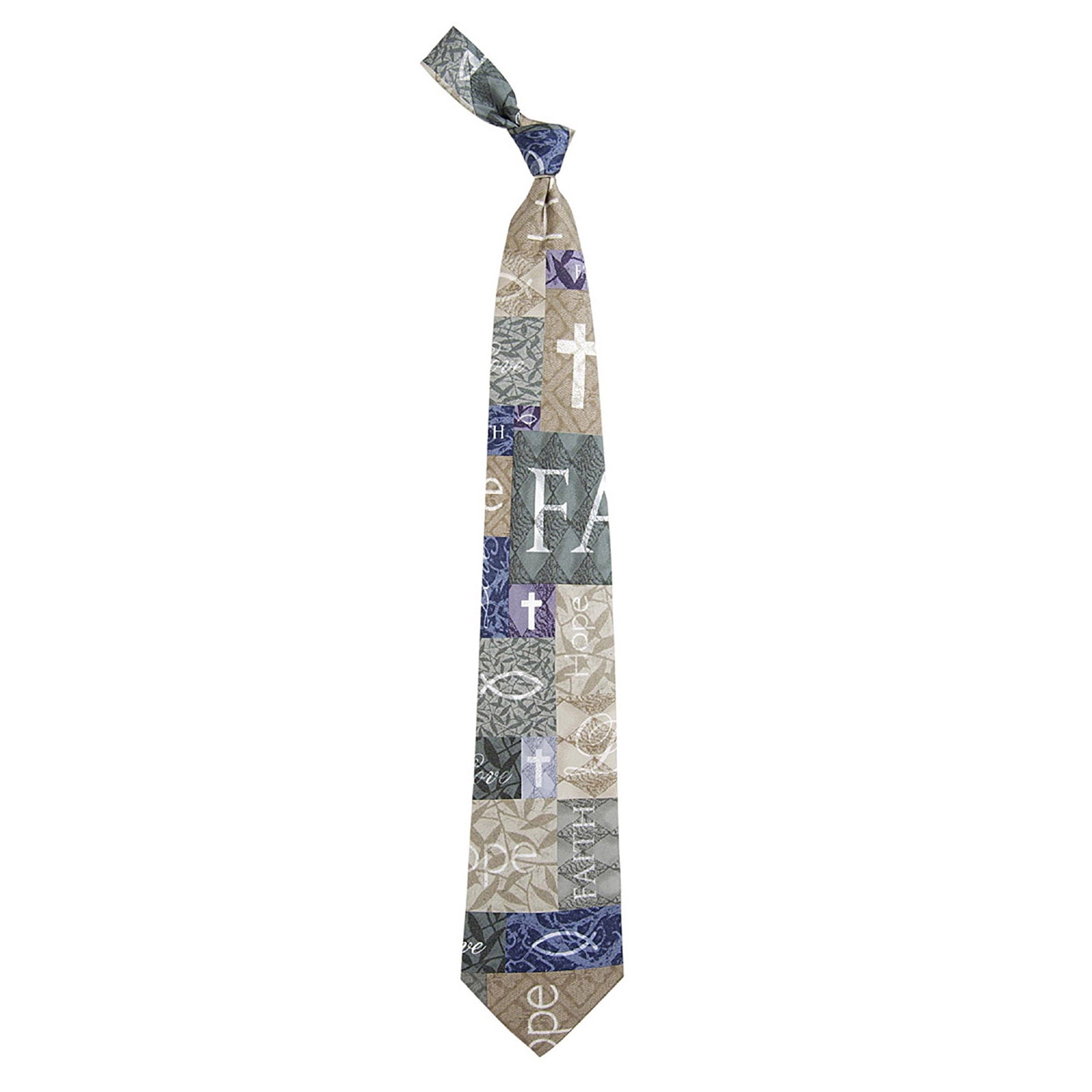 Eagles Wings Men's Finely Crafted Inspirational Necktie - Faith Hope Love 2 (Blue)