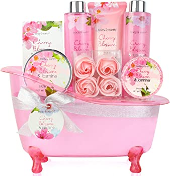 Body & Earth 8-Pieces Gift Basket with Cherry Blossom & Jasmine Scent