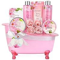 Bath Set for Women - Body&Earth 8 Pcs Gift Basket with Cherry Blossom & Jasmine...